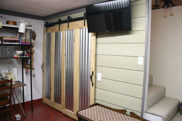 This is from our 20x24 basement remodel we added hanging for Basement sliding doors