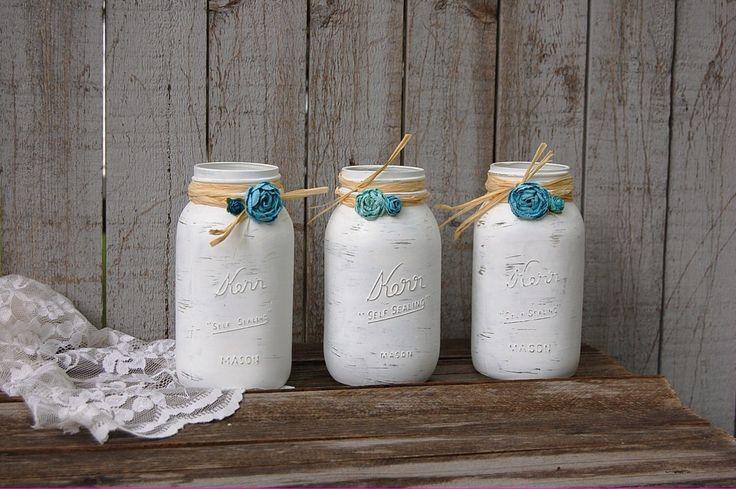 White and turquoise mason jars