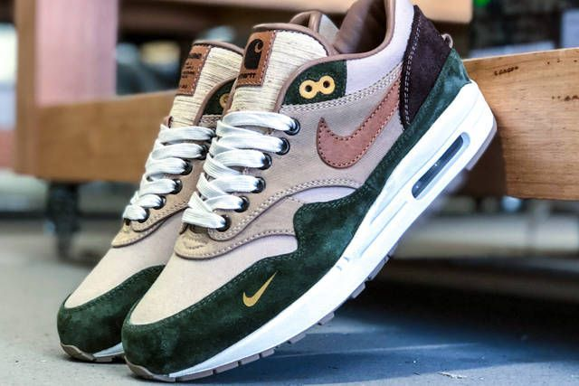 size 40 0bcaa 9b4b1 nike air max 1 duck canvas carhartt bespokeind custom sneakers footwear  shoes