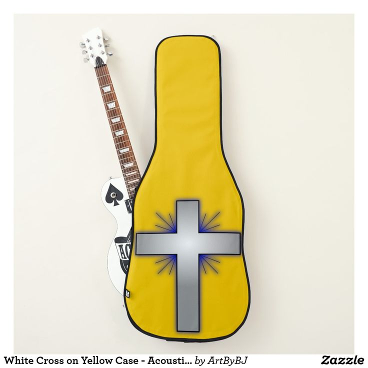 Great NEW Range of Cases for Electric Guitars, &  ALSO Acoustic Guitars – -  See them ALL –   a Wonderful Birthday Present or Christmas Gift for your Musician, Guitar Player. -  This is  -White Cross on Yellow Case - Acoustic or Electric