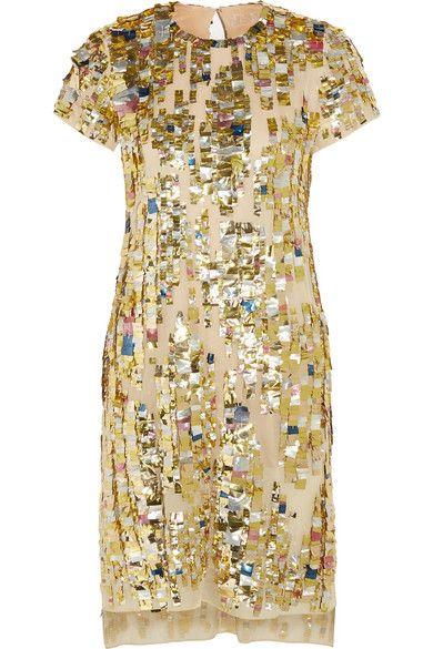 Reed Krakoff Embellished woven-cotton dress