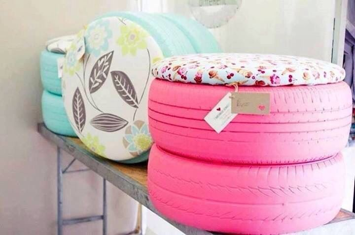 Tires painted and cushion made from outdoor fabric and plywood. Great for outdoor seating
