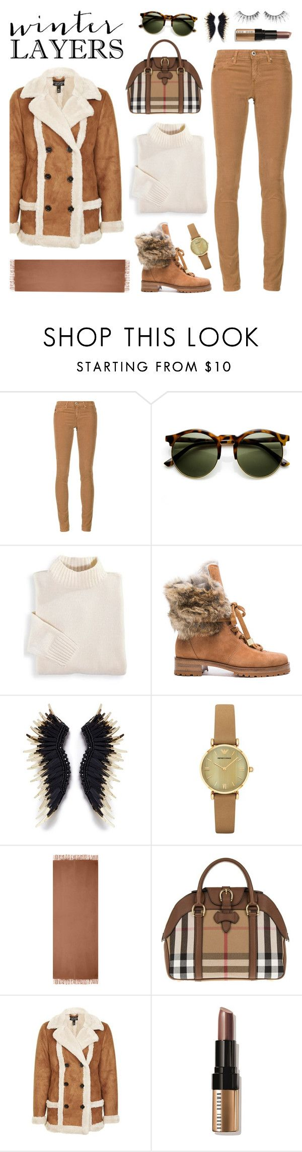 """""""Winter Layers"""" by lgb321 ❤ liked on Polyvore featuring AG Adriano Goldschmied, Blair, Alexandre Birman, Mignonne Gavigan, Emporio Armani, Acne Studios, Burberry, Topshop, Bobbi Brown Cosmetics and MAKE UP FOR EVER"""