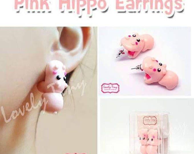 Kawaii pendiente, pendiente 3D rosa Hippo mordedura Animal Pendientes Stud polímero arcilla hecha a mano, regalo para chica mujer de Cutie, listo para regalo