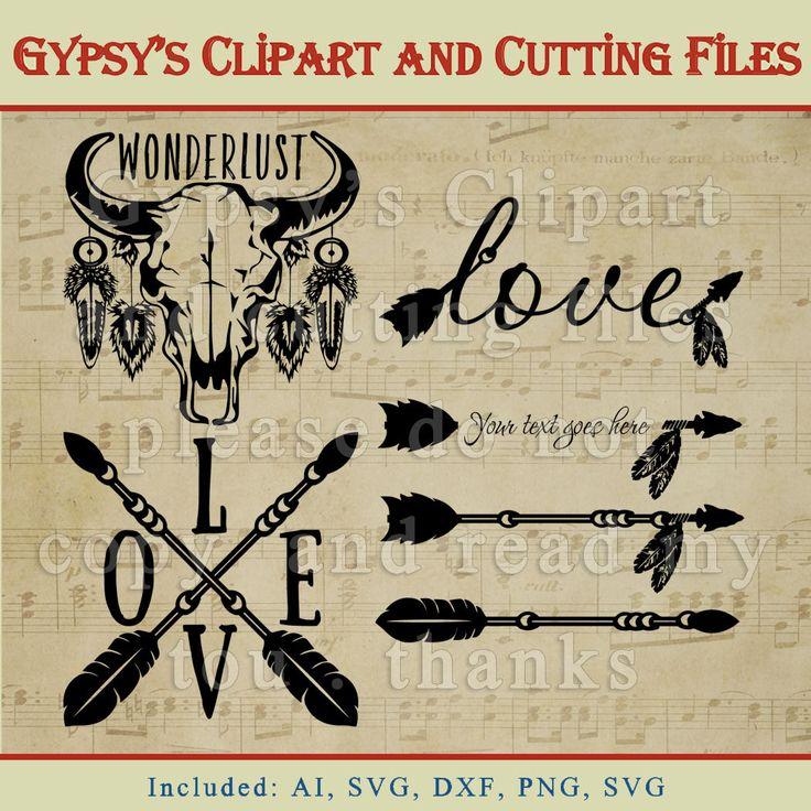 Bison cráneo vaca cráneo Flechas tribales Amor por GypsysClipart