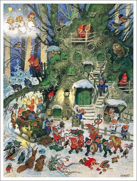 vintage Advent calendar, illus by Fritz Baumgarten