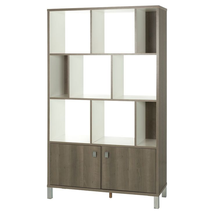 Expoz 9 - Cube Shelving Unit with Doors - Gray Maple and Pure White - South Shore, Ash Wood
