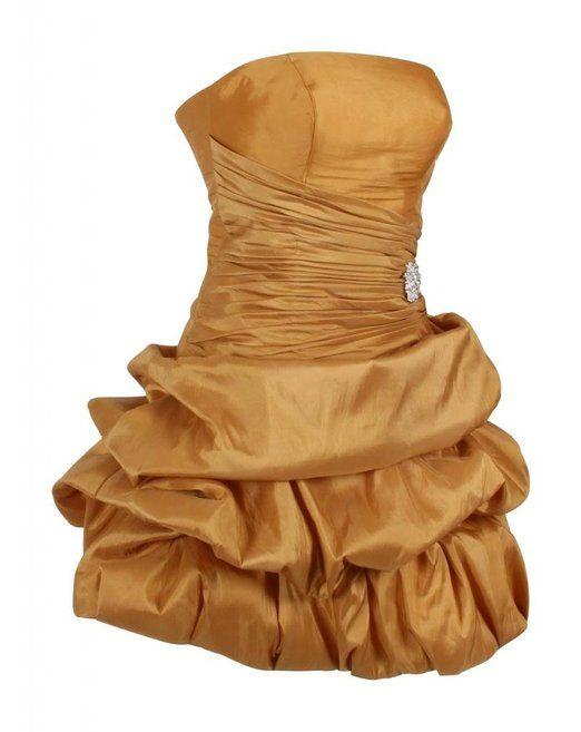 Kurze Damen Ballkleider Ballonkleider Bandeaukleider Schulterfreie Cocktailkleider Festkleider Trägerlose Abendkleider Ausgehkleider Frauen Gold 34 UK 8: Amazon.de: Bekleidung
