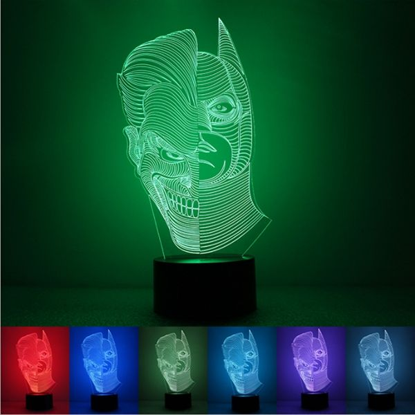 3D Illusion Color Changing Clown & Batman Double Sided LED Desk Night Light Lamp