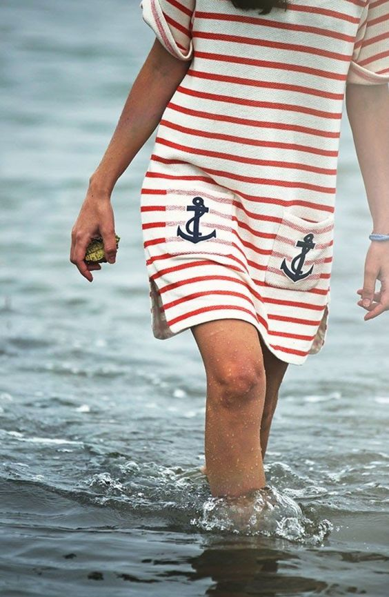 Nautical Stripes with Anchor Pockets!