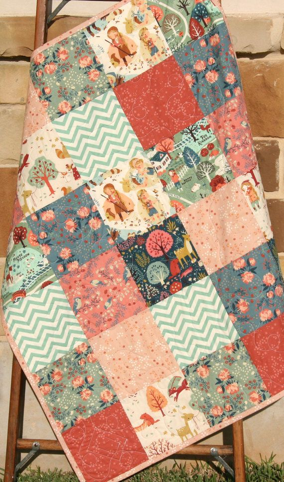 Baby Girl Quilt, Organic Acorn Trail, Teagan White, Blue Coral Pink, Birch Fabric, Woodland Modern Blanket Crib Blanket Bedding, All Natural by SunnysideDesigns2