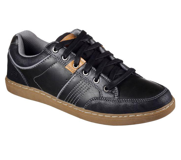 64919 Black Skechers Shoes Men Memory Foam Sporty Casual Comfort Leather Sneaker #SKECHERS #laceupcasualcomfortsneakeroxford