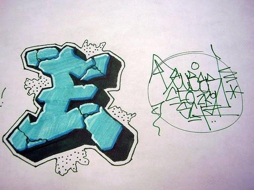 Graffiti Letter E 3D, I like this style of lettering ...