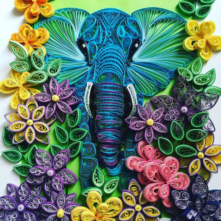 Quilling elephant artwork