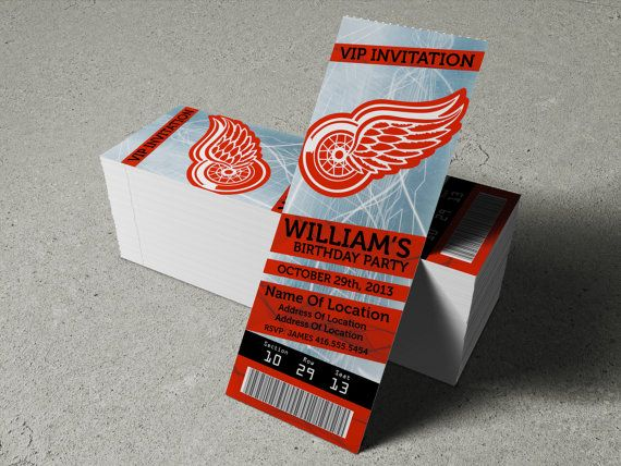 """Detroit Red Wings Birthday Party/Event Ticket Invitation (2.5"""" x 7"""") - 2 Options on Etsy, $8.35"""