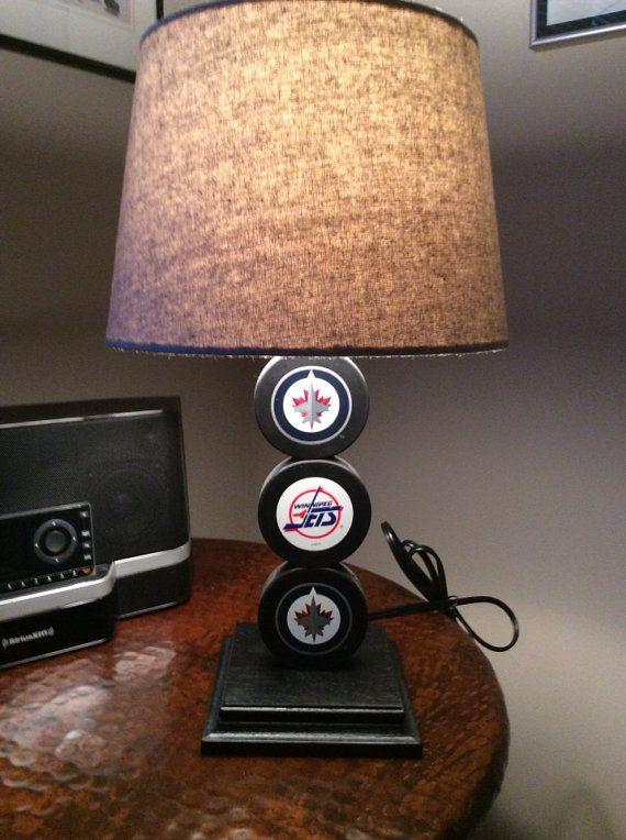 Winnipeg Jets Hockey Puck Lamp on Etsy, $65.00