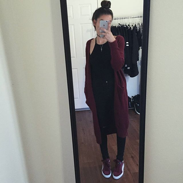 Styled the burgundy puma suedes with a burgundy cardigan  #foreverfaster