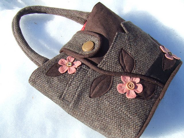 pink blooms repurposed wool jacket handbag