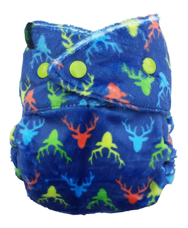 Bum Rarpz minky cloth nappy in Rusa print. Featuring the classic stag sillhouette in blue, orange, green and citrus yellow for a up-to-date modern cloth nappy! NZ designed minky fabric from The Print Baker and custom milled for Rarpz Design - in stores now!