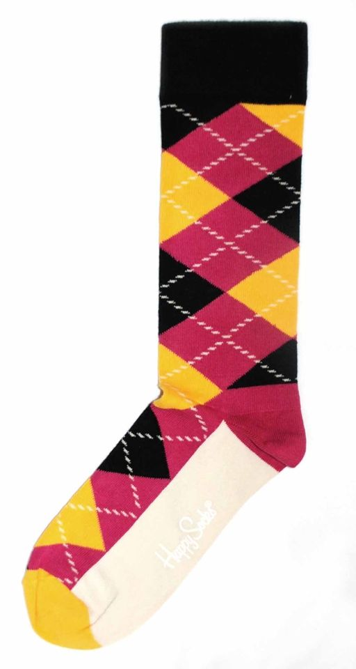 Mens Dress Sock - Happy Socks - Pink Black Yellow Argyle