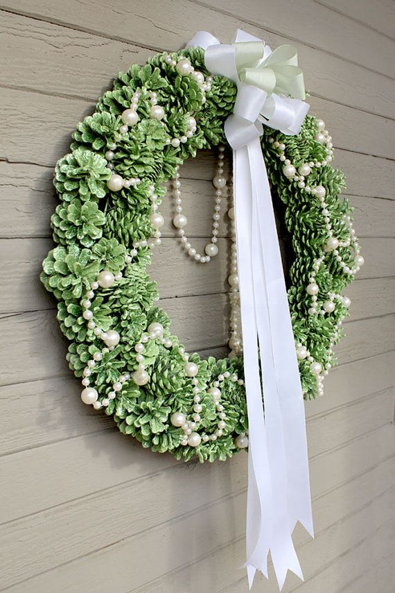 Apple Green Glitter Pinecone Wreath White Pearl by morebrightideas
