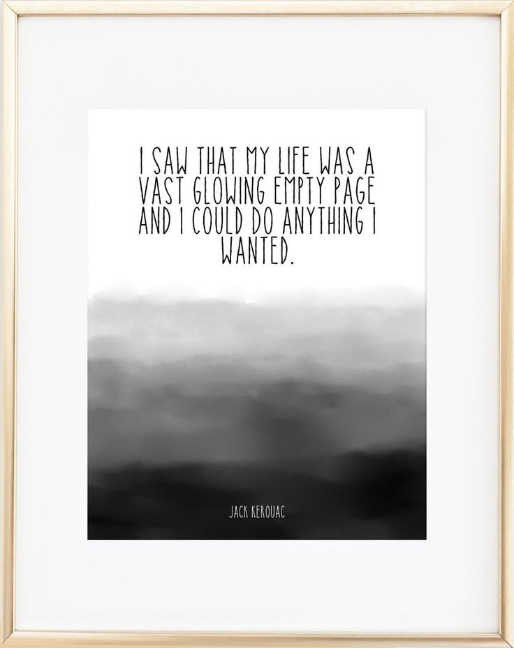 I saw that my life was a vast glowing empty page and I could do anything I wanted. Jack Kerouac Each print is professionally printed on 68 lb. acid-free speciality paper with archival inks. Click here