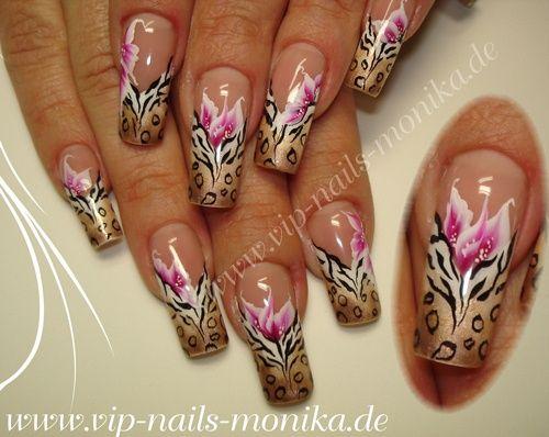 Zebra-Leo and One Stroke Flowers by vipnailsmonika - Nail Art Gallery nailartgallery.nailsmag.com by Nails Magazine www.nailsmag.com #nailart