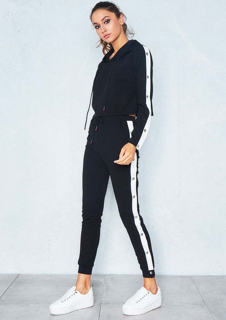 Fliss Black White Side Stripe Cropped Loungewear Set