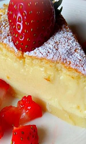 Magic Custard Cake ~ This is an old recipe for a cake which separates into three layers.  You get a crust on the bottom, custard in the middle and a cake on top.  Dusted with icing sugar and served with fresh berries it's a delight in the warmer months.