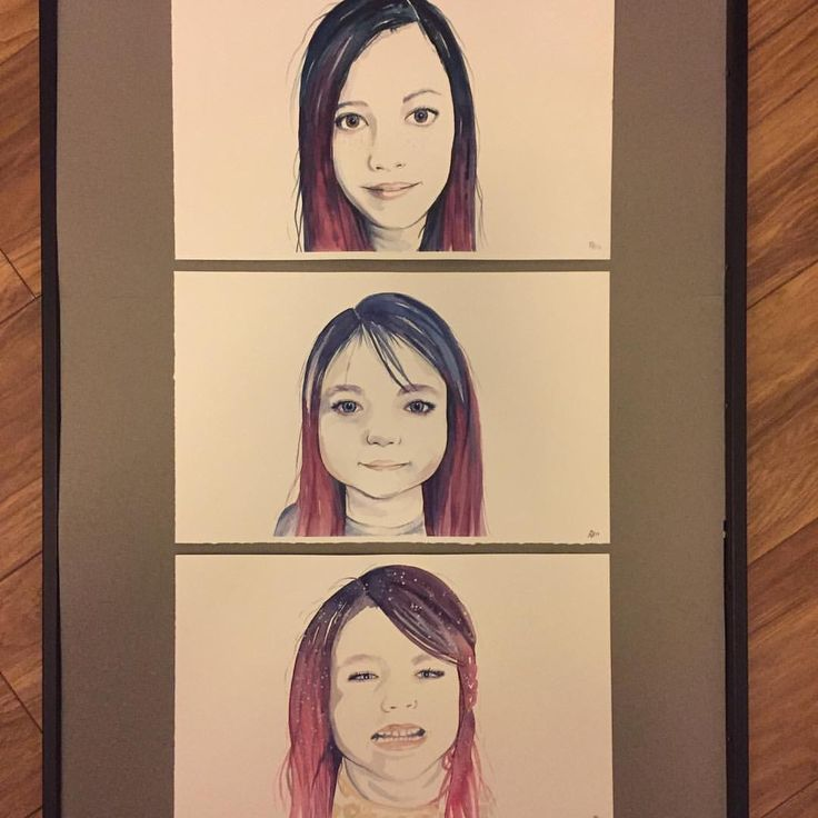 Watercolour portraits of my three daughters :)