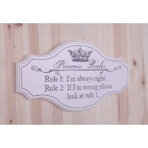 Decorative Wooden Sign Plaque Wall Decor with Quote, Princess Rules: Quote
