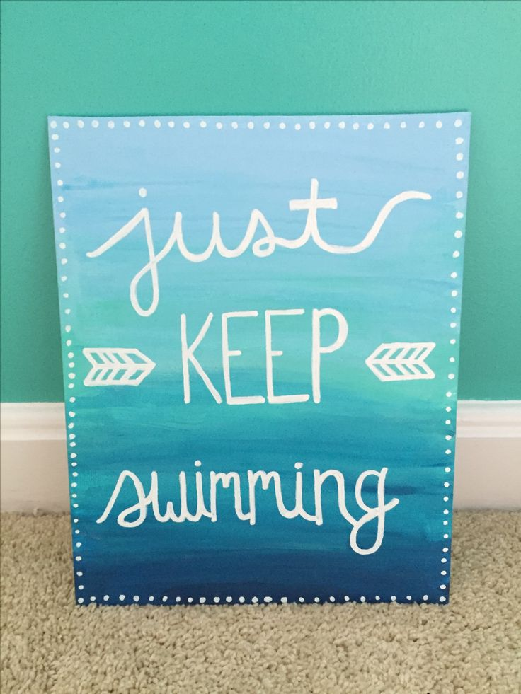 Just Keep Swimming (Finding Nemo Finding Dory) Disney Pixar canvas