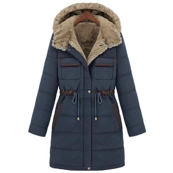 Casual Hooded Drawstring Design Thicken Long Sleeve Coat For Women