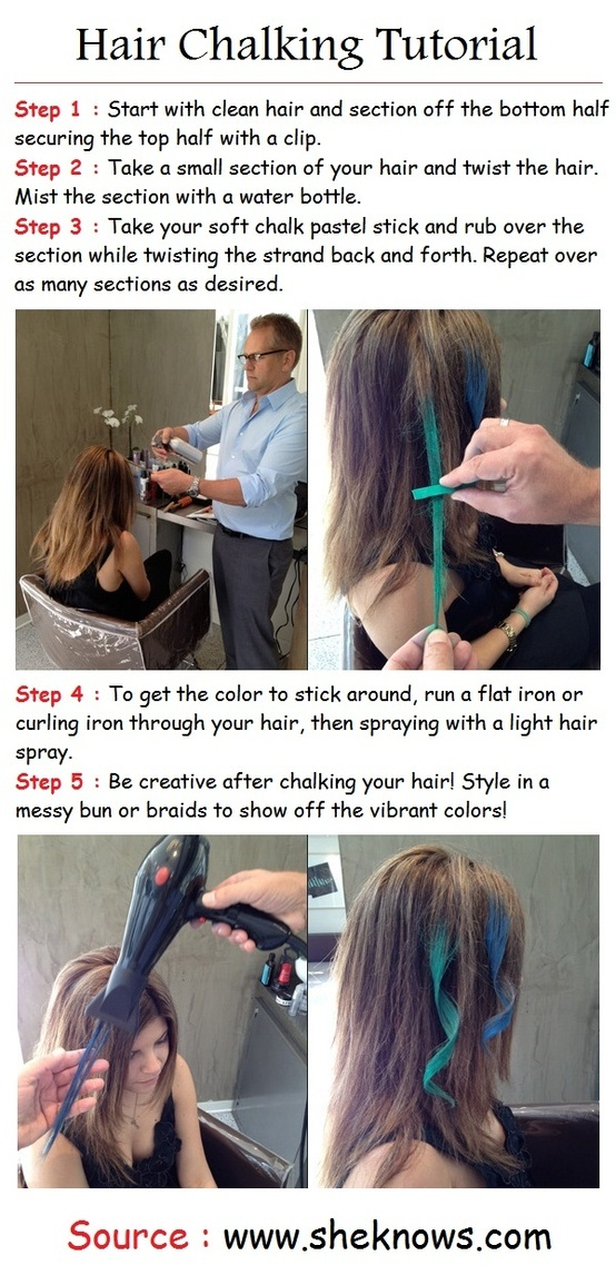 Hair Chalking Tutorial I soooo want to do this like asap