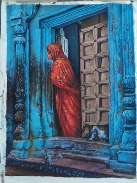 Sunil Kapoor Original Hand-Painted Art Painting Online. Subject-Woman Waiting For Someone, Surface-Canvas, Medium-Oil, life, mystry, death, Hand-Painted, Oil Painting,Artwork,Buy Painting Online