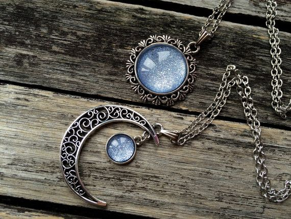 2 Sun and Moon Necklaces matching necklaces by AChicFairytale