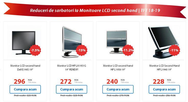 Monitoarele second hand au de Sarbatori pana la 40% reducere! Intra pe site sa vezi oferta completa!  Retine! Orice comanda iti aduce sansa de a castiga un laptop Lenovo L412 cu procesor Intel Core i3!