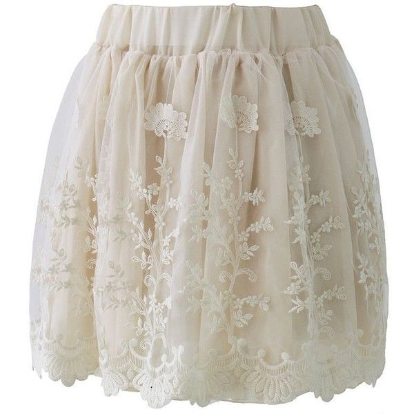 Creamy Planting Lace Tulle Skirt   Pretty Things   Pinterest ❤ liked on Polyvore featuring skirts, bottoms, faldas, lace tulle skirt, lace skirt, lacy skirt, tulle skirts and knee length lace skirt