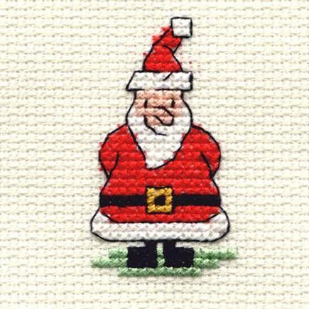 Santa cross stitch for Christmas cards.
