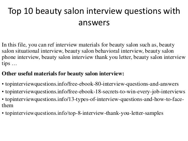 Top 10 beauty salon interview questions with answers Licensed to - interview questions and answers