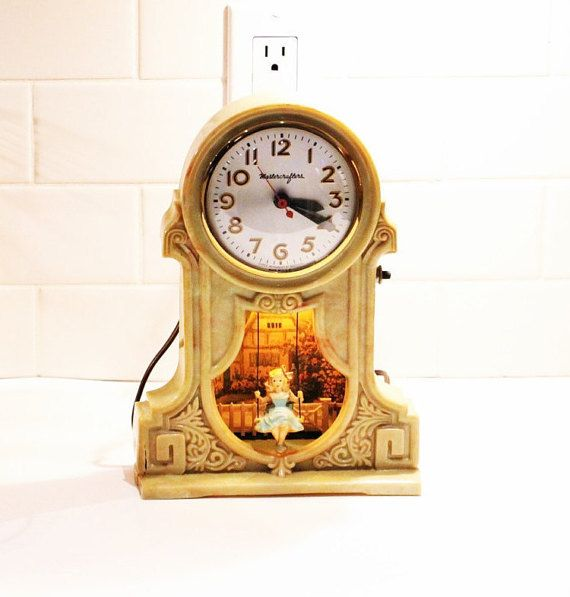 Electric Clock, MasterCrafters Vintage Clock, Swinging Girl Pendulum Clock, Electric Shelf Clock by clockworkrummage. Explore more products on http://clockworkrummage.etsy.com