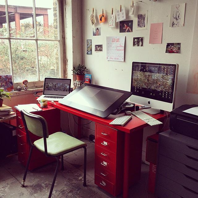 My crazy digital artworking set up. Must buy new chair this week! 2 Macs, 2 keyboards & @wacom Cintiq 27Pen &Touch.