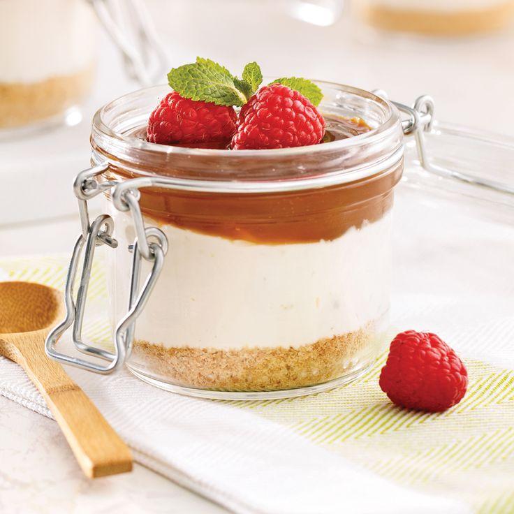 Petits pots de gâteau au fromage au caramel salé - Recettes - Cuisine et nutrition - Pratico Pratique