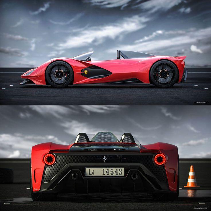 Ferrari Aliante Barchetta Concept von Daniel Soriano: Seiten- und Rückansichten #CarDe … – Car Body Design