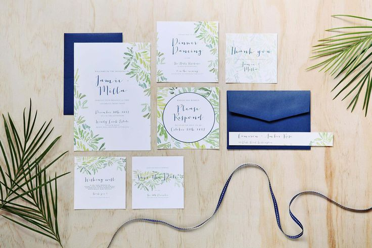 Tropical Wedding invites, hand painted, greenery for days.