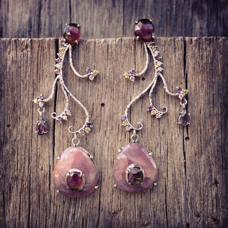 Earrings by Donna Yolka. (Ruby, Tourmaline, Spinel, Zircon, silver 925)