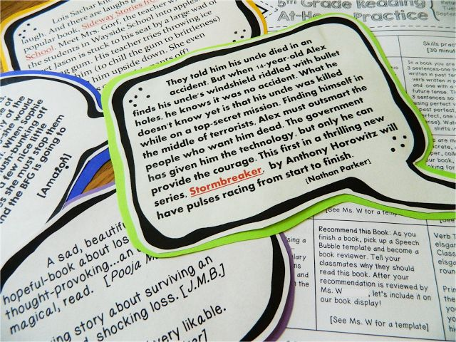 Cool idea for outside novels. Book Blurbs! Student-led book recommendations. :) Would be so cute on the bulletin board next to pictures of the students.
