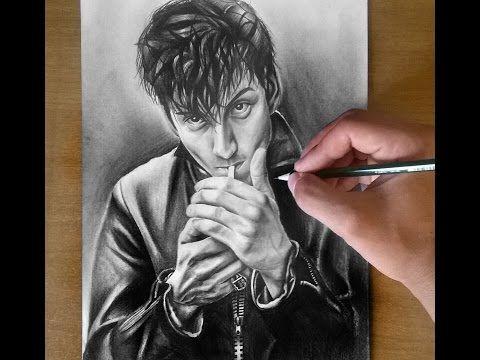 Alex Turner AM Pencil Drawing ( Arctic Monkeys singer ) - YouTube