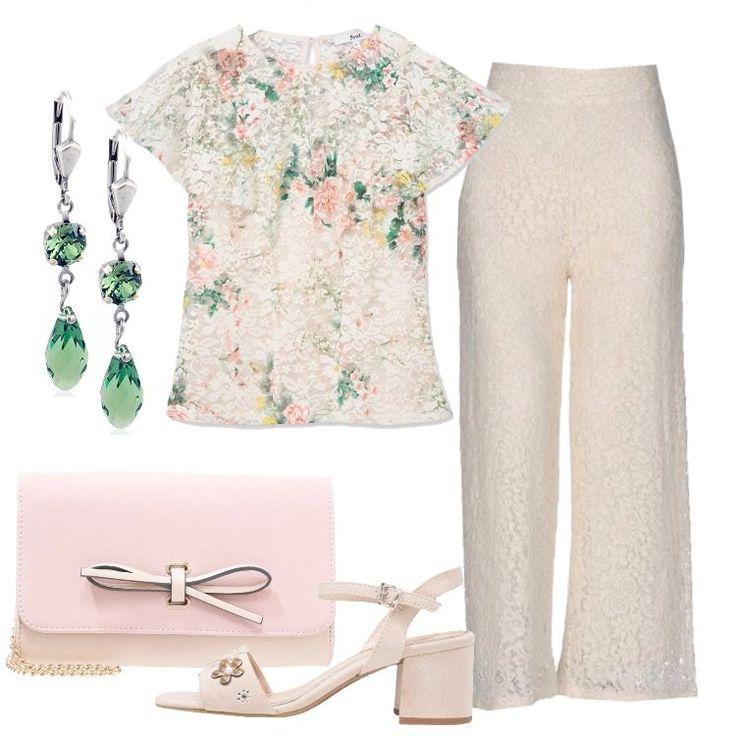 Un outfit di ispirazione romantica, per il quale ho scelto capi in pizzo: pantalone avorio, pizzo, vita alta, regular fit, gamba dritta, chiuso con zip, interno foderato, largo al fondo, abbinato a blusa avorio, in cotone, delicata fantasia floreale, scollo tondo, manica corta, volant. chiusa dietro con bottone. Sandalo sabbia, applicazione di fiori, cinturino con fibbia, tacco largo, pochette rosa, fintapelle, fiocco, tracolla in metallo, orecch...