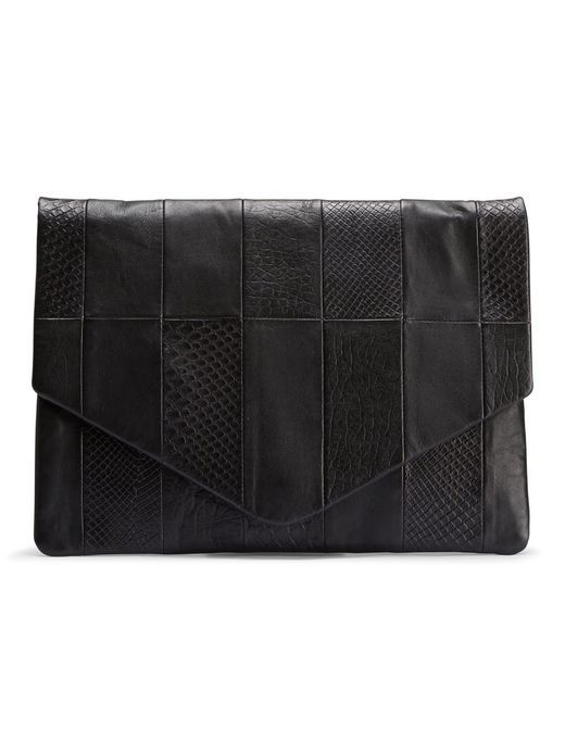 LEATHER CLUTCH, Black